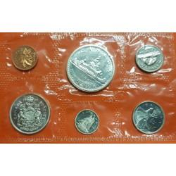 6 monedas x CANADA 1+5 Centavos 1966 + 10-25-50 Centavos 1966 PLATA + 1 DOLAR 1966 PLATA CANOA