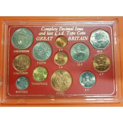 "12 monedas x INGLATERRA desde 1/2 New Penny a 1/2 Corona SC 1966 a 1977 ESTUCHE ""COMPLETE DECIMAL ISSUE"""