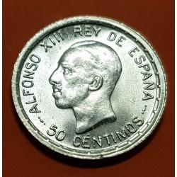 @LUJO@ ESPAÑA Rey ALFONSO XIII 50 CENTIMOS 1926 PCS REY y ESCUDO KM.741 MONEDA DE PLATA Spain silver L2
