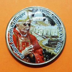 @COLORES@ ESTADOS UNIDOS 1/2 DOLAR 2005 Pope Benedict XVI MONEDA DE NICKEL SC KENNEDY colorized