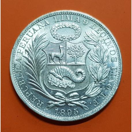 PERU 1 SOL 1895 T.F. Ceca de Lima DAMA SENTADA KM.196 MONEDA DE PLATA @LUJO@ Brillo original República Peruana