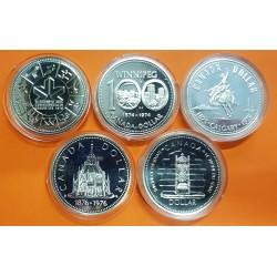 5 monedas x CANADA 1 DOLAR 1974+1975+1976+1977+1978 PLATA WINNIPEG CALGARY LIBRARY TRONO EDMONTON SC