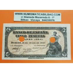 ESPAÑA 5 PESETAS 1937 PORTABELLA DAMA BURGOS Serie A 0342071 Pick 106A BILLETE SC @RARO - 2 TALADROS PARA SER INUTILIZADO@