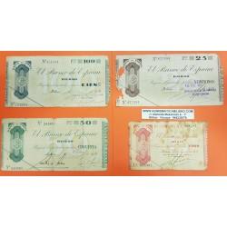 EUSKADI BILBAO Serie de 4 Billetes 5+25+50+100 PESETAS 1936 GOBIERNO DE EUZKADI EN LA GUERRA CIVIL BANCO DE ESPAÑA (8)
