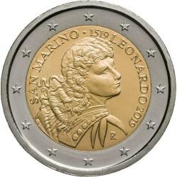 SAN MARINO 2 EUROS 2019 LEONARDO DA VINCI 500 AÑOS DE SU MUERTE SC MONEDA CONMEMORATIVA EN ESTUCHE @RARA@