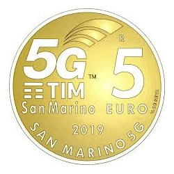 SAN MARINO 5 EUROS 2019 COBERTURA MOVIL 5G NETWORK MONEDA DE LATON SC Commemorative Euro coin