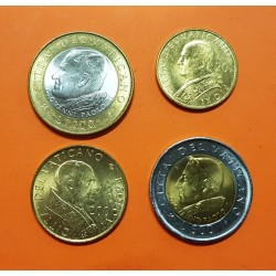 4 monedas x VATICANO 100+200+500+1000 LIRAS 2001 DIVERSOS PAPAS KM.334 a 337 BIMETALICAS x2 SC @RARA@