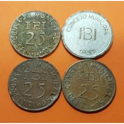 @RARAS@ CONSEJO MUNICIPAL DE IBI 3 monedas de 25 CENTIMOS 1937 + 1 PESETA 1937 ESPAÑA MONEDAS LOCALES GUERRA CIVIL