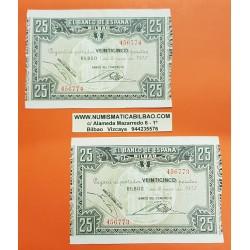 @PAREJA CORRELATIVA@ BILBAO EUSKADI 25 PESETAS 1937 BANCO DEL COMERCIO Pick S.561 EBC 2 BILLETES GUERRA CIVIL