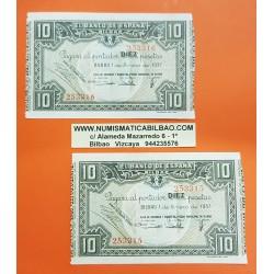 @PAREJA CORRELATIVA@ BILBAO EUSKADI 10 PESETAS 1937 CAJA MONTE DE PIEDAD Pick S.560 EBC 2 BILLETES GUERRA CIVIL