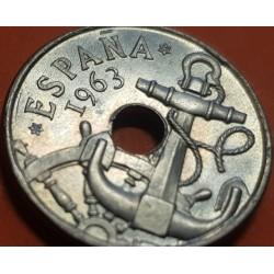 ESPAÑA 50 CENTIMOS 1963 * 19 63 ESTADO ESPAÑOL FRANCISCO FRANCO Tipo FLECHAS KM.777 MONEDA DE NICKEL SIN CIRCULAR @RARA@