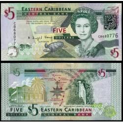 ESTADOS DEL CARIBE 5 DOLARES 2008 PECES, TORTUGA y MAPA Pick 47A BILLETE SC @RARO@ EAST CARIBBEAN STATES 5 Dollars