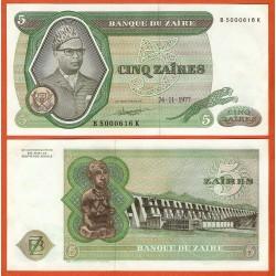 ZAIRE 5 ZAIRES 1977 DICTADOR MOBUTU, PRESA y TOTEM Pick 21B BILLETE SC @ESCASO@ Africa UNC BANKNOTE