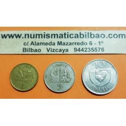 3 monedas x GUINEA ECUATORIAL 1 EKUELE + 5 KUELE + 10 EKUELE 1975 PRESIDENTE KM.32+33+34 MBC++ Equatorial