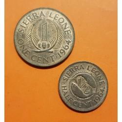 2 monedas x SIERRA LEONA 1/2 CENTAVO 1964 + 1 CENTAVO 1964 SIR MILTON MARGAI KM.15+16 BRONCE SC Leone
