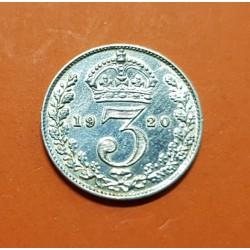 INGLATERRA 3 PENIQUES 1920 KING GEORGIUS V KM.813A MONEDA DE PLATA EBC @LIMPIADA@ UK 3 Pence silver
