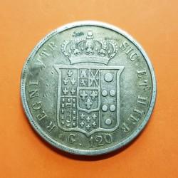 ITALIA 120 GRANA 1847 FERNANDO II REY DE NAPOLES y LAS 2 SICILIAS KM.346 PLATA @RARA y DEFECTO@