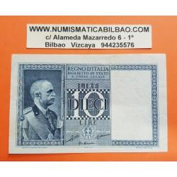 ITALIA 10 LIRAS 1935 REY VITTORIO EMANUELLE III Serie 0156 Pick 25 BILLETE MBC++ @2 AGUJEROS DE GRAPA@ Italy BANKNOTE 10 Lire