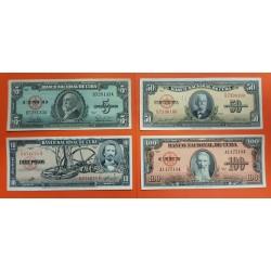 4 BILLETES x 5 PESOS 1960 + 10 PESOS 1960 + 50 PESOS 1958 + 100 PESOS 1959 HEROES NACIONALES MBC+ Caribe banknotes