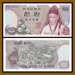 KOREA DEL SUR 1000 WON 1975 MONJE y POBLADO Pick 44 BILLETE SC South Korean UNC BANKNOTE