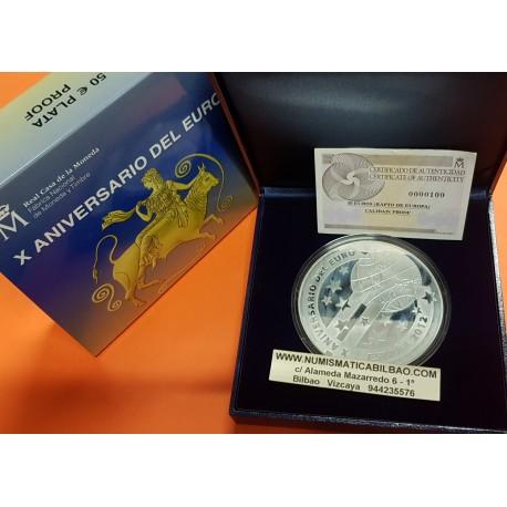 ESPAÑA 50 EUROS 2012 X ANIVERSARIO DEL EURO MONEDA DE PLATA Cincuentin FNMT ESTUCHE CERTIFICADO