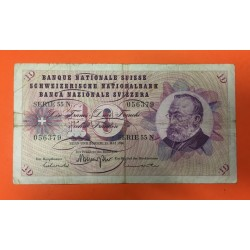 SUIZA 10 FRANCOS 1973 GOTTFRIED KELLER Serie 53N Pick 45S BILLETE BC Switzerland banknote 20 Francs
