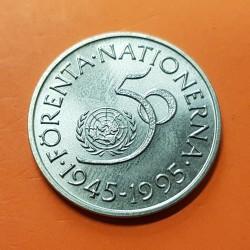 SUECIA 5 KRONOR 1995 ONU 50 ANIVERSARIO Rey GUSTAV XVI KM.885 MONEDA DE NICKEL SC Sweden 5 Kroner Coronas