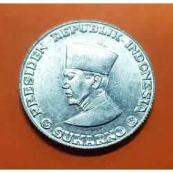 INDONESIA 50 SEN 1962 PRESIDENTE SUKARNO KM.9 MONEDA DE ALUMINO SC @RARA@