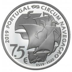 PORTUGAL 7,50 EUROS 2019 V CENTENARIO VUELTA AL MUNDO DE MAGALLANES 1ª MONEDA DE PLATA SC Tirada 40000 uds