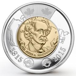 CANADA 2 DOLARES 2015 SIR JOHN A MACDONALD KM.NEW MONEDA BIMETALICA $2 Dollars coin