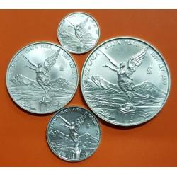 @TIRADA 50.000@ MEXICO 1/20 + 1/10 + 1/4 + 1/2 ONZA 2019 ANGEL ALADO 4 MONEDAS DE PLATA PURA SC Mejico silver FRACCIONES OZ