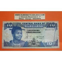 SWAZILANDIA 10 EMALANGENI 1995 REY y FABRICA GUERRERAS Pick 24A Firma 7 BILLETE MBC Africa BANKONTE PVP NUEVO 22€