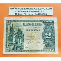 ESPAÑA 2 PESETAS 1937 CATEDRAL DE BURGOS 12 de OCTUBRE Serie A 6701576 Pick 109A BILLETE @MUY RARO@ Spain banknote