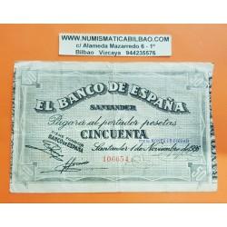 ESPAÑA BANCO DE SANTANDER 50 PESETAS 1936 ANTEFIRMA POR EL MONTE DE PIEDAD 106654 BILLETE DE LA GUERRA CIVIL