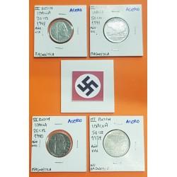 4 monedas x ITALIA 20 CENTESIMI y 50 CENTESIMI 1939/1940/1941 DAMA y AGUILA KM.75+76 ACERO III REICH OCUPACION NAZI WWII Italy