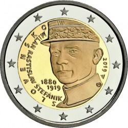 ESLOVAQUIA 2 EUROS 2019 MILAN RASTISLAV STEFANICK Centenario de su muerte SC MONEDA CONMEMORATIVA Slovakia euro coin