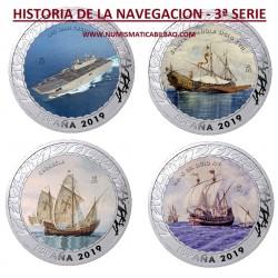 .3ª SERIE HISTORIA DE LA NAVEGACION x 1,50 EUROS 2019 SC 4 MONEDAS DE NICKEL @COLORES@ España