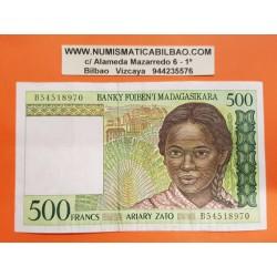 MADAGASCAR 500 ARIARY 1994 MONTAÑAS y ABORIGEN NIÑA Pick 75B BILLETE MBC Africa 500 Francos BANKNOTE