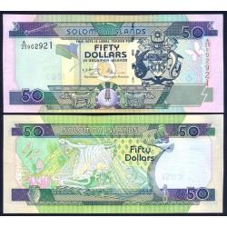 SOLOMON 50 DOLARES 2001 IGUANA, LAGARTO y FLORES Pick 24 BILLETE SC Islas Salomon Islands UNC BANKNOTE