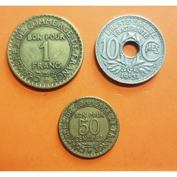 3 monedas x FRANCIA 10 CENTIMOS 1931 LINDAUER KM.866A + 50 CENTIMOS 1923 DAMA KM.884 + 1 FRANCO 1921 DAMA KM.876 NICKEL y LATON
