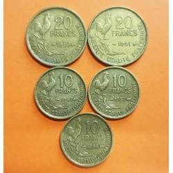 5 monedas x FRANCIA 10 FRANCOS 1951 + 1952 + 1955 + 20 FRANCOS 1950 + 1951 GALLO y DAMA Tipo GUIRAUD KM.915 y KM.917 LATON