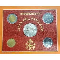 4 monedas x VATICANO 20+50+100+500 LIRAS 1984 GIOVANNI PAOLO II SC MEDALLA VIAJE DEL PAPA A ESPAÑA BAÑO DE PLATA Souvenir Set
