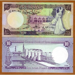 SIRIA 10 LIBRAS 1988 BAILARINA e INSTALACION PETROLIFERA Pick 101D BILLETE SC SYRIA 10 Pounds UNC BANKNOTE