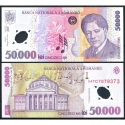 RUMANIA 50000 LEI 2001 GEORGE ENESCU y NOTAS MUSICALES Pick 113 BILLETE DE PLASTICO / POLIMERO SC Romania polymer UNC BANKNOTE