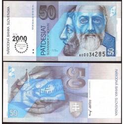 ESLOVAQUIA 50 KORUN 1993 Sello en plata MILLENIUM S.V. CYRIL e IGLESIA Pick 35 BILLETE SC Slovakia UNC BANKNOTE