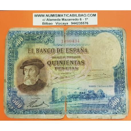 ...500 PESETAS 7 ENERO 1935 HERNAN CORTES SIN CIRCULAR PLANCHA