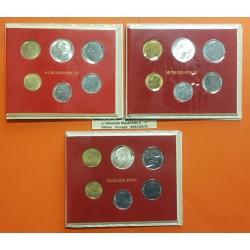 3 sets x VATICANO CARTERA OFICIAL 1979+1980+1981 JUAN PABLO II SC 10+20+50+100+200 LIRAS + 500 LIRAS PLATA Divisionale