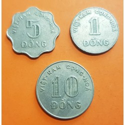 3 monedas x VIETNAM 1 DONG 1964 + 5 DONG 1966 + 10 DONG 1964 CONG-HOA IV NICKEL KM.7+8+9 MBC State of South VIETNAM DEL SUR