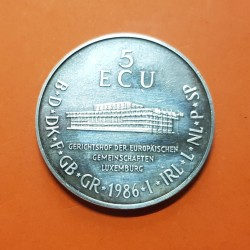 LUXEMBURGO 5 ECU 1986 ERASMUS DE ROTTERDAM y PARLAMENTO MONEDA DE PLATA @RARA - RAYITAS@ Luxembourg TIRADA 1000 uds