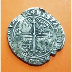 @RARA@ ESPAÑA Rey FELIPE II 4 REALES 1556 a 1598 Ceca de MEXICO Tipo MACUQUINA MONEDA DE PLATA KM.36 COB silver coin